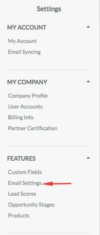 Sharpspring email settings
