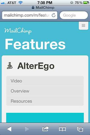 Mailchip mobile site