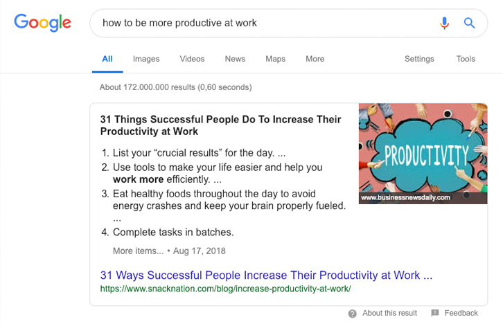 Example of a Google snippet