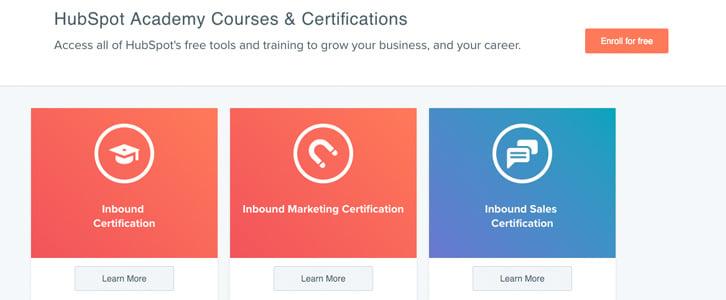 Hubspot courses screen