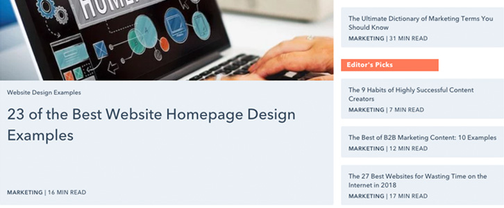 Hubspot marketing screenshot