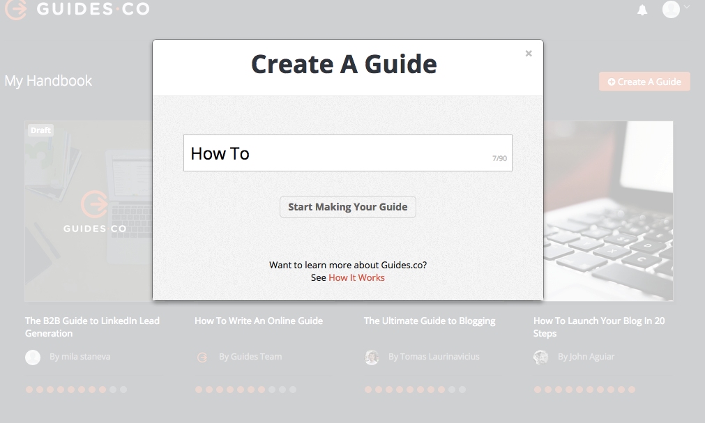 Guides.co - How to create a guide